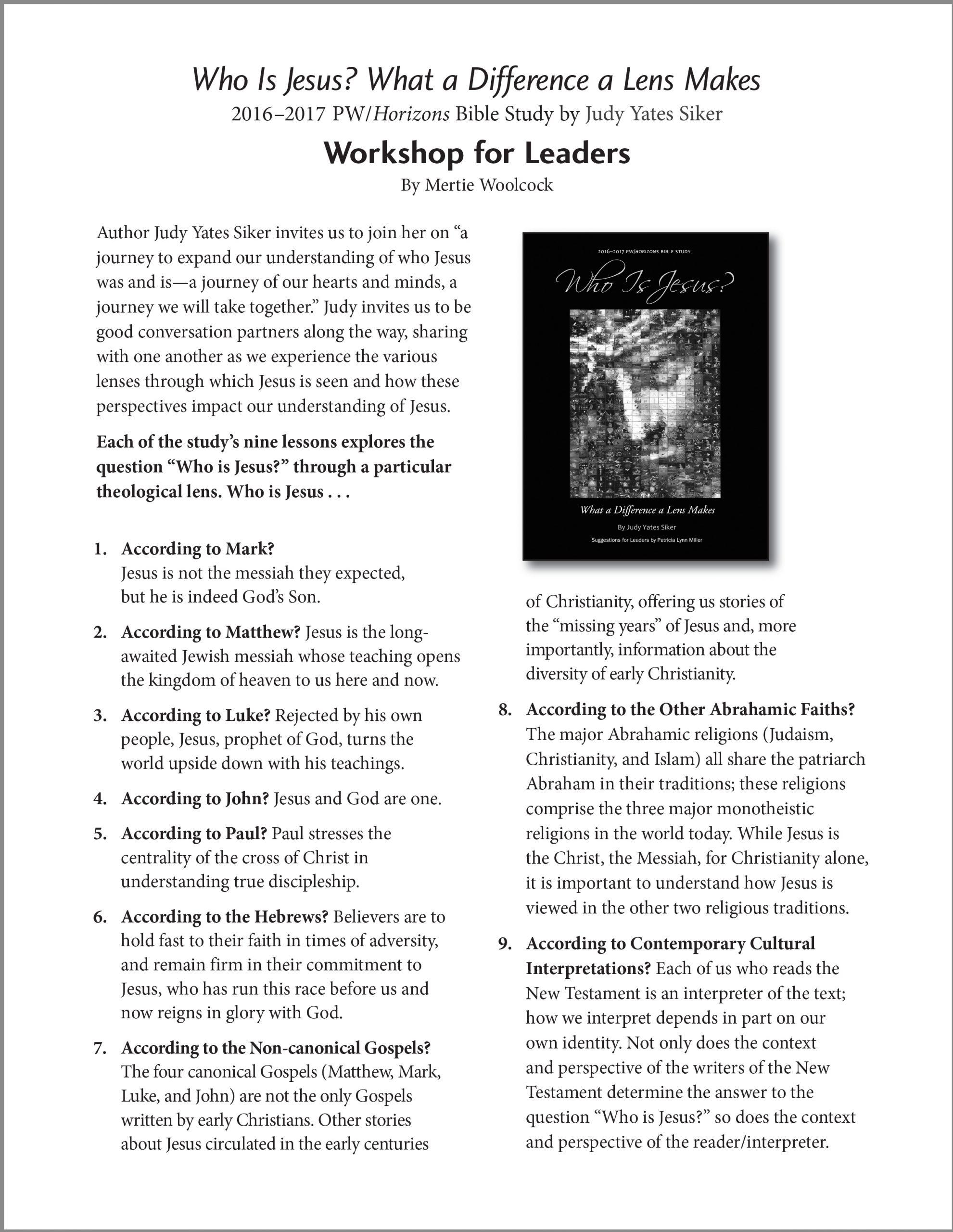 Who Is Jesus? Workshop for Leaders