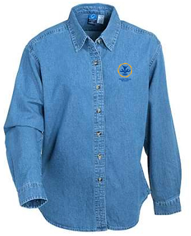 Long Sleeve blue jean polo