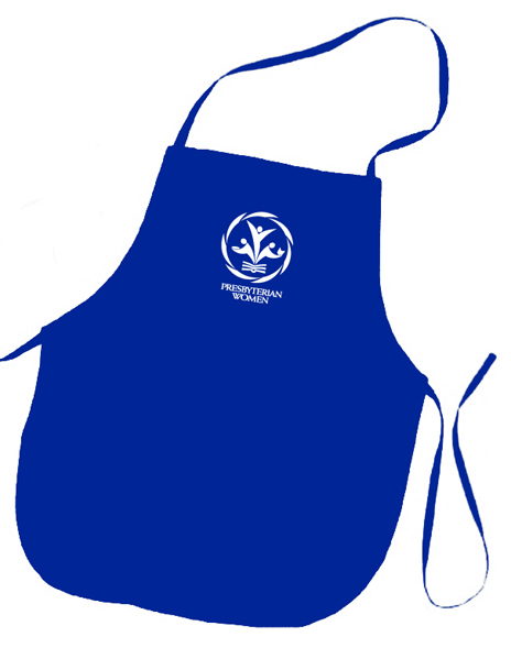 PW logo royal blue colored apron