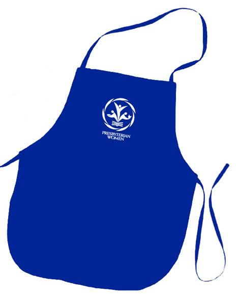 PW logo royal blue colored apron