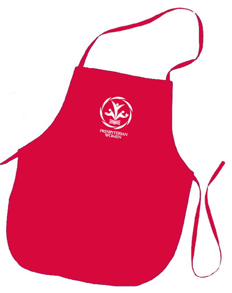 PW logo red colored apron