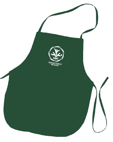 PW logo hunter green colored apron