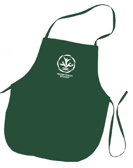 PW logo hunter green colored apron
