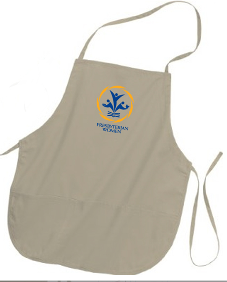 PW logo stone colored apron