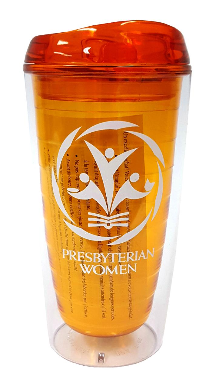 PW logo BPA-free tumbler, orange
