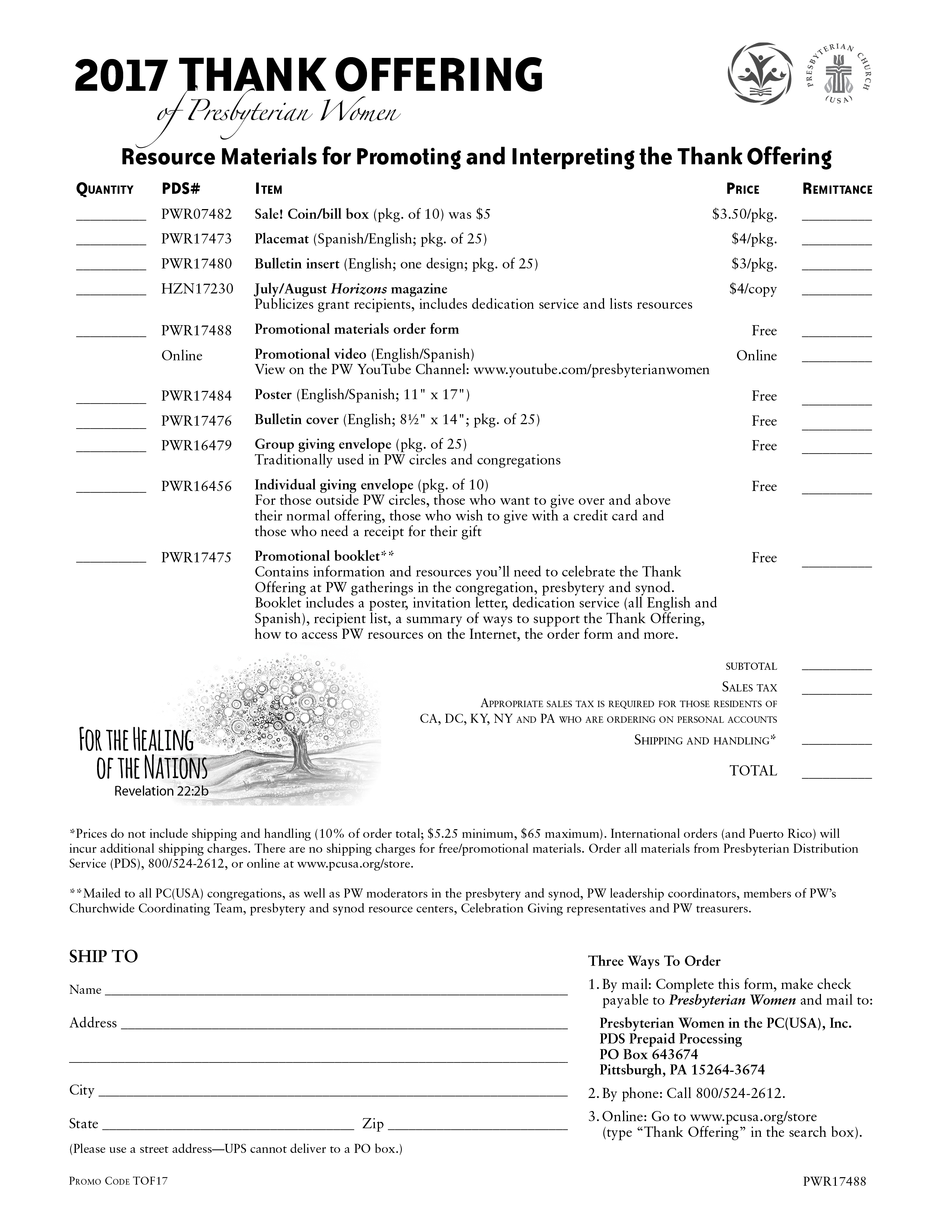 2017 Thank Offering Order Form