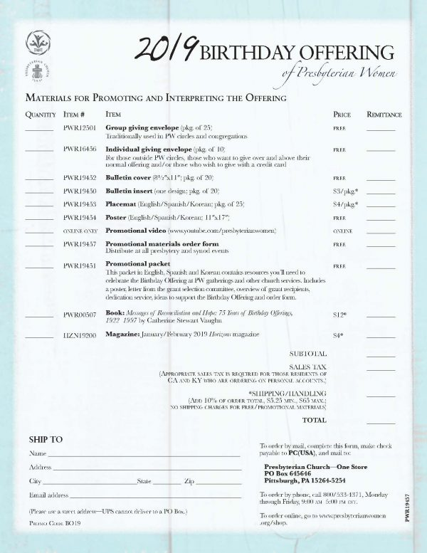 PWR19457 2019 BO Order Form