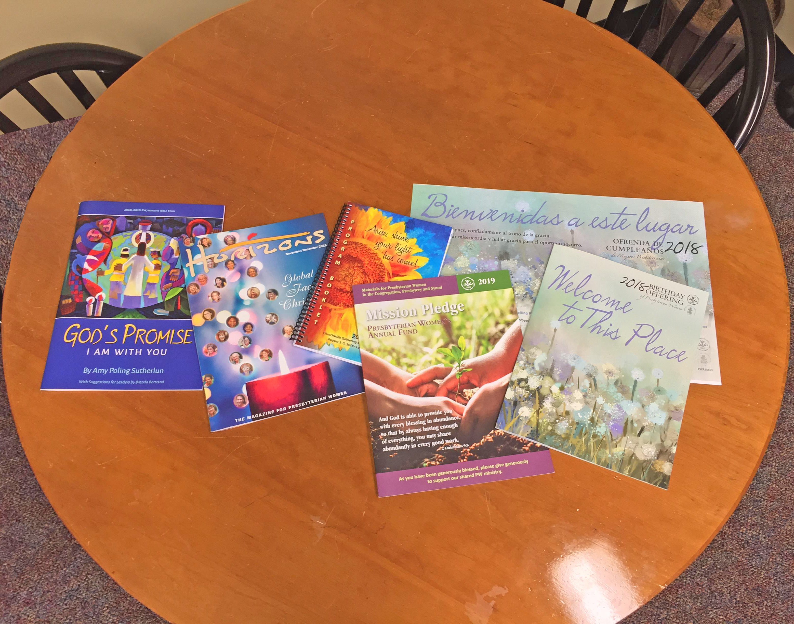 several Presbyterian Women publications displayed on a table