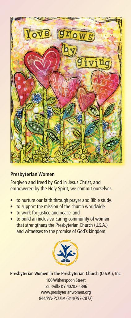 Love Grows by Giving Bookmark – Presbyterian Women