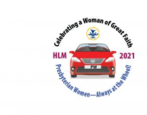 """Red car surrounded by words """"Presbyterian Women, Always at the Wheel"""""""