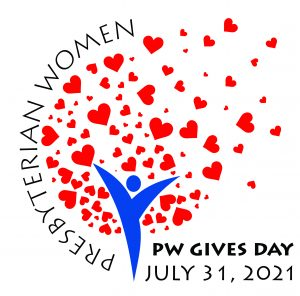 """hearts rising from figure in PW logo. """"PW Gives Day, July 31, 2021"""" is written in lower right"""